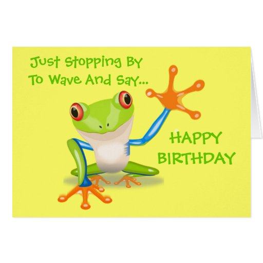 Cute Frog Funny Animal Kids Happy Birthday Greeting Cards