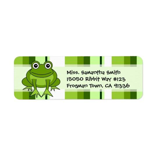 Cute Frog Green Stripe Return Address Labels