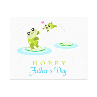 Cute Frog Hoppy Happy Father's Day Canvas Prints