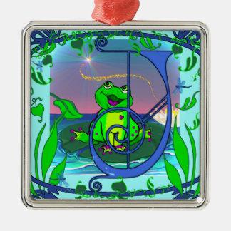 Cute Frog Initial J Premium Gift Tag/Ornament Metal Ornament