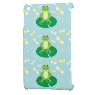 Cute Frog on Lilypad with Dragonflies Case For The iPad Mini