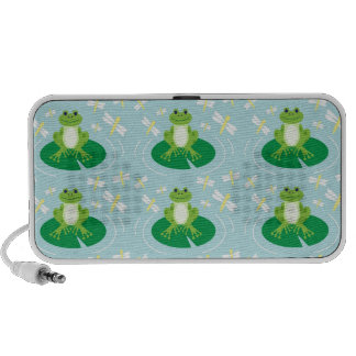 Cute Frog on Lilypad with Dragonflies Portable Speaker