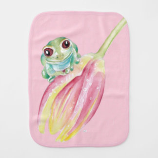 Cute Frog On Pink Burp Cloth