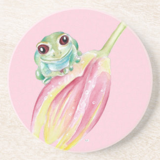 Cute Frog On Pink Coaster