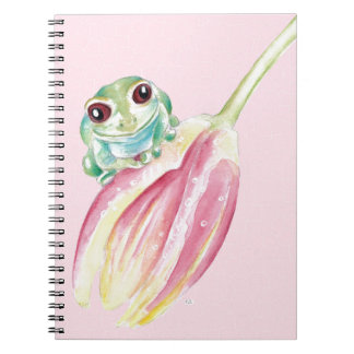 Cute Frog On Pink Notebooks