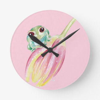 Cute Frog On Pink Round Clock