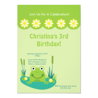 Cute Frog Pond Birthday Party Invitation