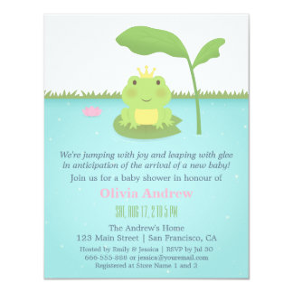 Cute Frog Prince Boy Baby Shower Invitations