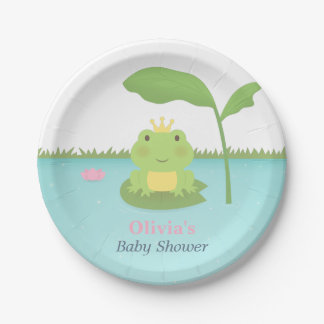 Cute Frog Prince Boy Baby Shower Supplies Paper Plate