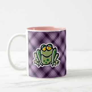 Cute Frog; Purple Two-Tone Coffee Mug