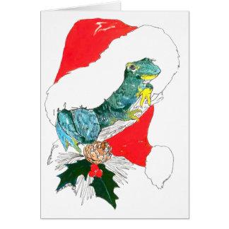 Cute Frog Santas Hat Wildlife Christmas Card