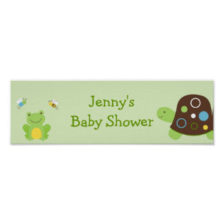 Cute Frog Turtle Bee Baby Shower Banner Sign Poster