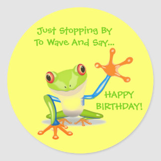 Cute Frog Wave Funny Animal Kids Happy Birthday Round Sticker