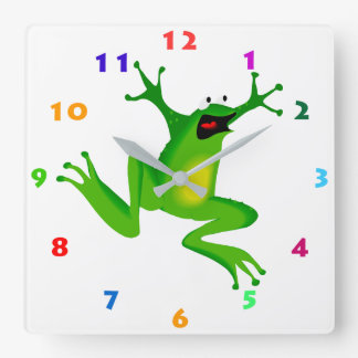 CUTE FROG WITH COLORFUL NUMBERS Kids Wall Clock