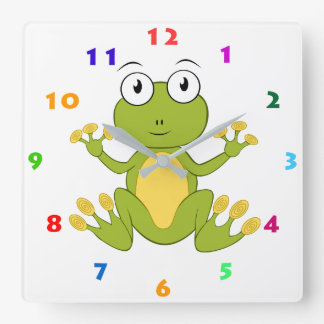 CUTE FROG WITH COLORFUL NUMBERS SQUARE WALL CLOCK
