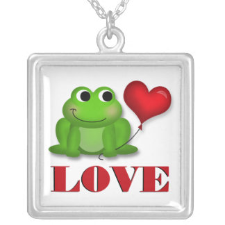 Cute Froggy Heart Balloon LOVE Necklace