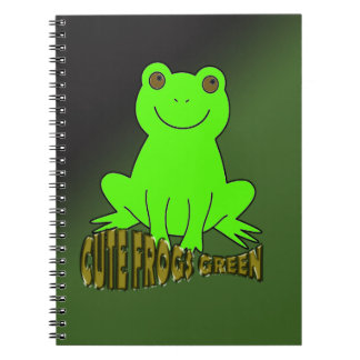Cute Frogs Green With Background Spiral Note Book