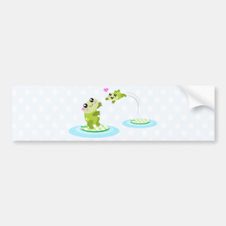 Cute frogs - kawaii mother and baby frog car bumper sticker