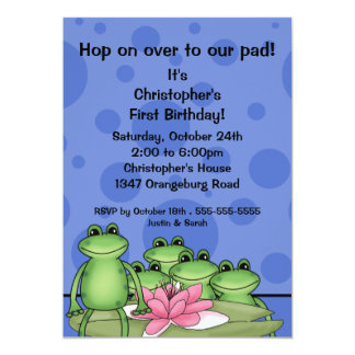 Cute Frogs on Lily Pad 1st Birthday Card