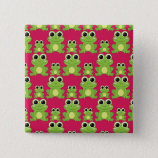 Cute frogs pattern 15 cm square badge