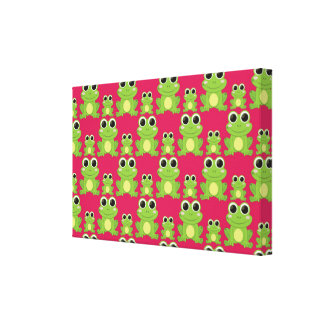 Cute frogs pattern canvas print