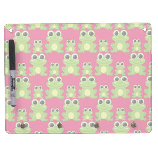 Cute frogs pattern dry erase board with key ring holder