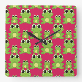 Cute frogs pattern square wall clock