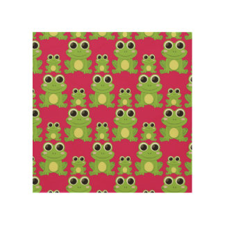 Cute frogs pattern wood print