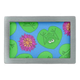 Cute frogs rectangular belt buckles