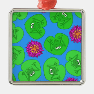 Cute frogs Silver-Colored square decoration