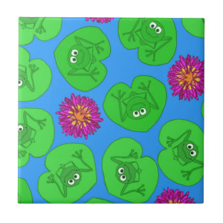 Cute frogs small square tile