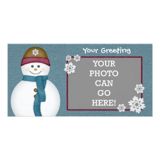 Cute Frosty Snowflakes Snowman Winter Ice Cold Customized Photo Card