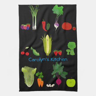 Cute Fruits And Veggies Personalized Tea Towel