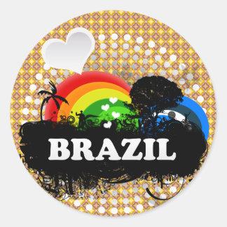 Cute Fruity Brazil Round Sticker