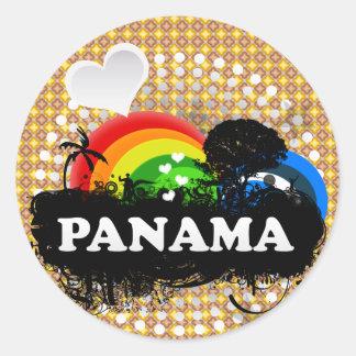 Cute Fruity Panama Round Sticker