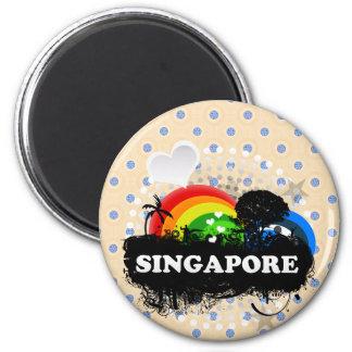 Cute Fruity Singapore 6 Cm Round Magnet