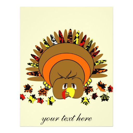 Cute Full Color Turkey Flyer Design
