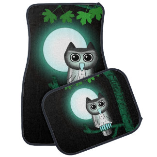 Cute Full Moon Owl Car Mat