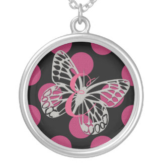Cute Fun Butterfly Pink Monogram Necklace