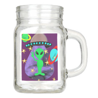 Cute Fun Cartoon Alien In Outer Space Mason Jar