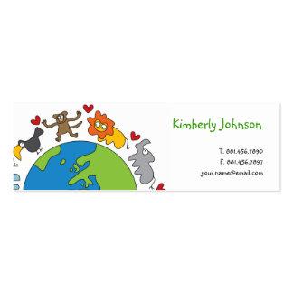 Cute Fun Cartoon Animals of The World Profile Card Business Card Templates