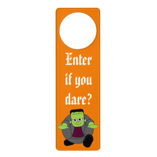 Cute fun cartoon of a green Halloween Frankenstein Door Hanger