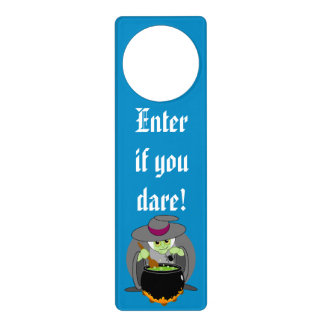 Cute fun cartoon of a green Halloween wicked witch Door Hanger