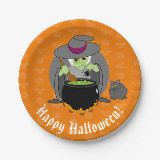 Cute fun cartoon of a green Halloween wicked witch Paper Plate
