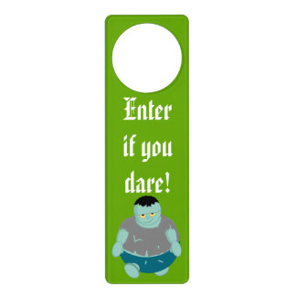 Cute fun cartoon of a green Halloween zombie, Door Hanger