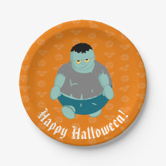 Cute fun cartoon of a green Halloween zombie, Paper Plate