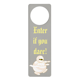 Cute fun cartoon of a Halloween bandaged Mummy, Door Hanger