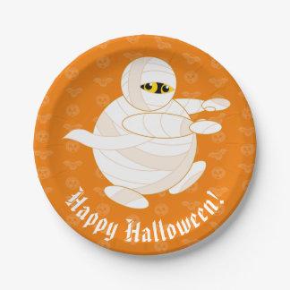 Cute fun cartoon of a Halloween bandaged Mummy, Paper Plate