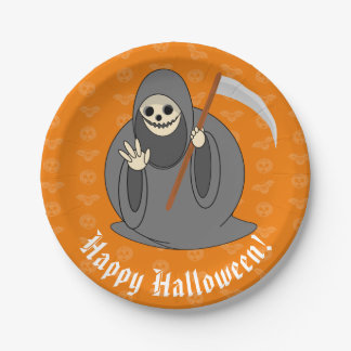 "Cute fun cartoon of a Halloween ""Death"", Paper Plate"