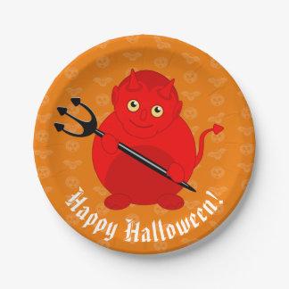 Cute fun cartoon of a Halloween red Devil, Paper Plate